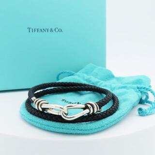 ティファニー(Tiffany & Co.)の希少 ティファニー ブラック レザー ノット ダブル ブレスレット DD63(ブレスレット)