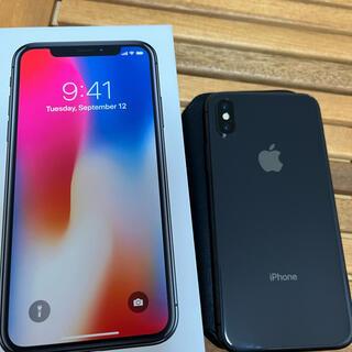 美品iPhonex64G 本体 SIMフリー レザーフォリオ スペースグレー
