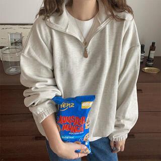 nugu    leather half zip sweatshirt