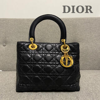 Christian Dior - 【極美品】DIOR カナージュ チャーム CD金具 キルティング レザー 黒