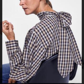 ZARA - 新品 ザラ バックリボンチェックシャツ