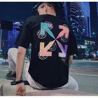 レインボー Tシャツ メンズ オフホワイト 黒 ブラック