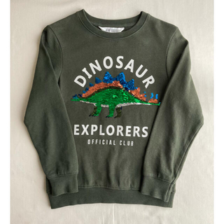 エイチアンドエム(H&M)のH&M ダイナソー トレーナー カーキ  スパンコール 恐竜 130(Tシャツ/カットソー)