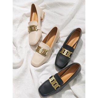 グレイル(GRL)のスクエアトゥフレアヒールチェーンレザーローファー新品(ローファー/革靴)
