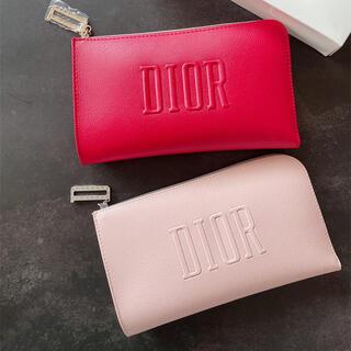 Dior - ディオール ノベルティ ポーチ レッド ライトピンク 2点セット Dチャーム