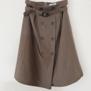 ナチュラルビューティーベーシック(NATURAL BEAUTY BASIC)のNATURALBEAUTYBASICフロントボタンスカート カーキ 膝丈 M(ひざ丈スカート)