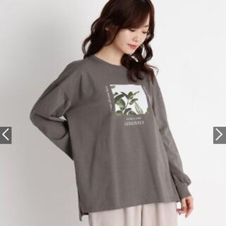 グローブ(grove)の[新品、タグ付き]grove 転写プリントパフ袖ロンT  ダークグレーM(Tシャツ(長袖/七分))