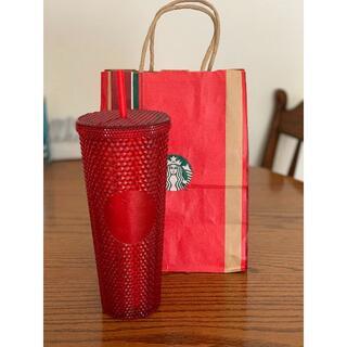 Starbucks Coffee - スターバックス スタバ  台湾 クリスマス キラキラ赤のストロー付きカップ