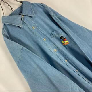 【デッドストック】オールドディズニー 刺繍ミッキーマウス 長袖デニムシャツ