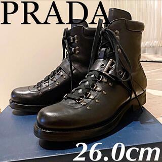 プラダ(PRADA)のPRADA メンズ コンバットブーツ マウンテンレースアップ本革レザー 26.0(ブーツ)