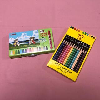 ぺんてる - ぺんてるクレヨン16色&トンボ色鉛筆12色セット