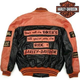 ハーレーダビッドソン(Harley Davidson)のフルデコ◆HARLEY-DAVIDSON◆オールレザースタジャンL黒オレンジ(スタジャン)