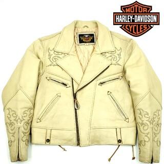 ハーレーダビッドソン(Harley Davidson)のファイヤーパターン刺繍◆HARLEY-DAVIDSON◆ライダースジャケット(ライダースジャケット)