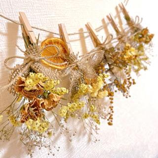 ドライフラワー スワッグ ガーランド ミニバラ ミモザ スターチス 紫陽花