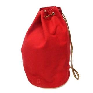 エルメス(Hermes)のエルメス HERMES 巾着バッグ ポロションミミル キャンバス 赤 レッド(その他)