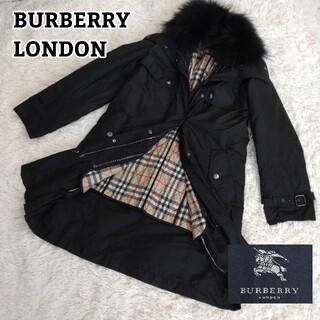 バーバリー(BURBERRY)の美品✨バーバリーロンドン ファー付コート ノバチェック ライナー ファー着脱可能(ロングコート)