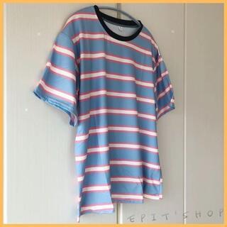 【新品】レディース トップス ボーダー Tシャツ 半袖 水色 XLサイズ 春夏