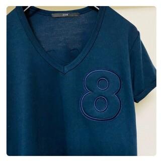 AKM - AKM muta 半袖 メンズ Vネック カットソー ネイビー 上質 Tシャツ