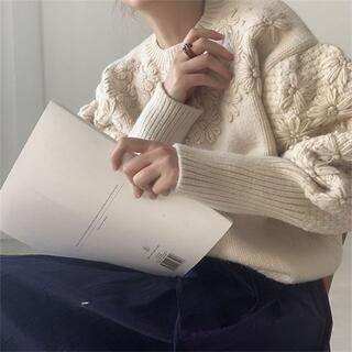 IENA - 花刺繍ニット