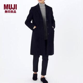 ムジルシリョウヒン(MUJI (無印良品))の新品 無印良品✨MUJI フレンチウール混 チェスターコート ネイビー サイズS(チェスターコート)