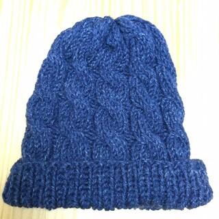 手編みのニット帽子💙(帽子)