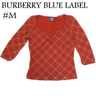 バーバリーブルーレーベル(BURBERRY BLUE LABEL)のバーバリー ブルーレーベル #M チェック 七分袖 ニット トップス レッド(ニット/セーター)