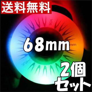 リップスティックデラックスミニ 交換用 ウィール タイヤ 68mm 光る 七彩K(スケートボード)