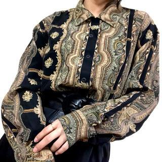 【古着】ヴィンテージ レトロ ハマカラー 総柄シャツ ポリシャツ ゆったり