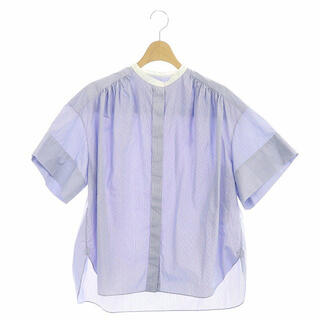 Drawer - ドゥロワー ドビースタンドカラーショートスリーブシャツ ブラウス ストライプ