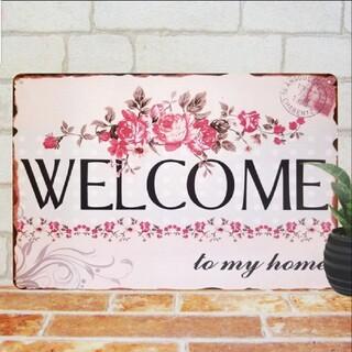 デザイン看板】Welcome 薔薇★バラ花柄ローズ玄関ポスター ウェルカムボード(ウェルカムボード)