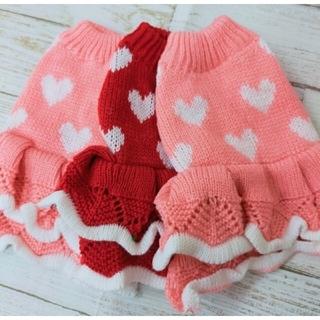 犬服ピンク ふりふりニットワンピース 犬の服 犬用品 セーター ハート