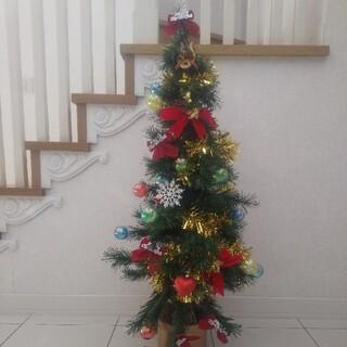 【美品・完動品】LEDファイバー(120cm)オーナメント付クリスマスツリー