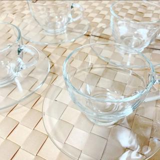 ボダム(bodum)の未使用 bodum ボダム ガラスティーカップ&ソーサー 4客(食器)