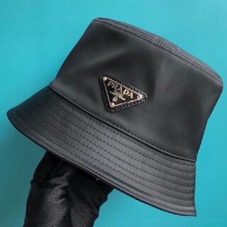 【サイズ:M】新品   プラダ ナイロン ハット 帽子 黒#2601
