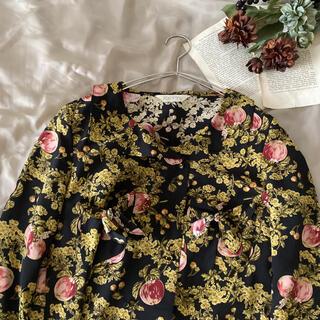PINK HOUSE - vintageレトロアンティークketty花柄フリル襟ブラウス