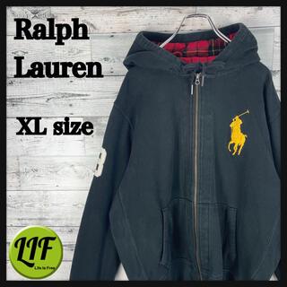 Ralph Lauren - 【希少‼︎】ラルフローレン 刺繍 ビックポニー 90s ジップパーカー ブラック