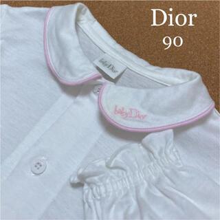 ベビーディオール(baby Dior)のベビーディオール  長袖 ブラウス 白 ロゴ 90 シャツ セリーヌ ファミリア(ブラウス)