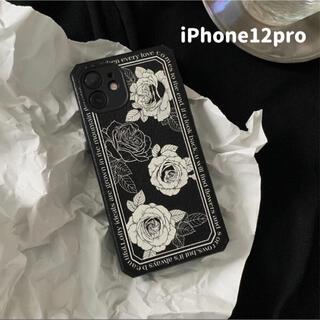 iPhone - 花柄 韓国iPhone12proケース iPhone12proカバー 北欧 黒