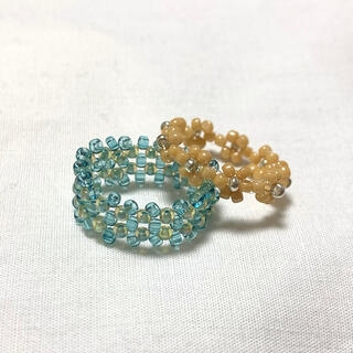 handmade ハンドメイド ビーズリング 2点セット💙おまけリング付き(リング)