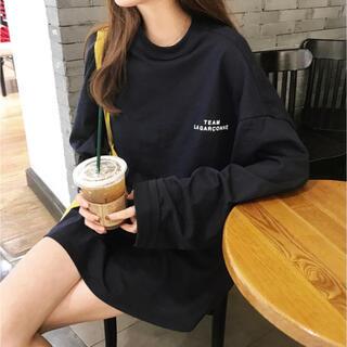 ロングTシャツ 黒 ブラック 長袖 オーバーサイズ 韓国 Lサイズ