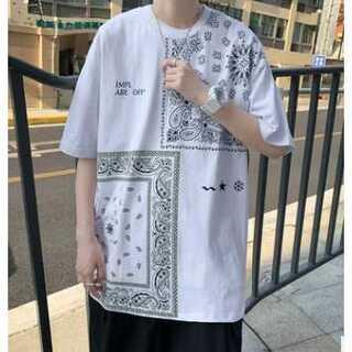 メンズ ペイズリー柄 オーバーサイズ  Tシャツ ストリート系 白 ホワイト
