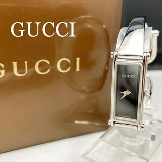Gucci - 新品仕上 新品電池 グッチ 1500L 腕時計 レディース バングル 黒