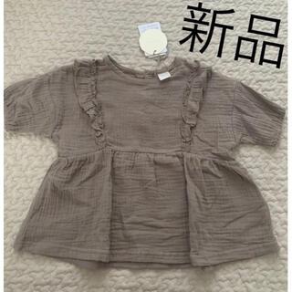 フタフタ(futafuta)のテータテート トップス 新品未使用 90 ワッシャー ガーゼ Tシャツ ブラウン(Tシャツ/カットソー)