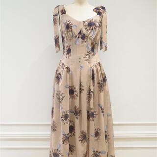 herlipto sunflower printed midi dress