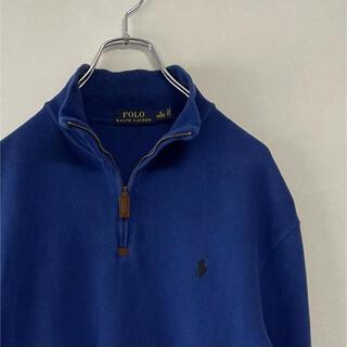 ラルフローレン(Ralph Lauren)の古着 90s POLO Ralph Lauren  ハーフジップ スウェット 紺(スウェット)