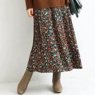 IENA - 【IENA】ドットフラワー 花柄 緑 プリーツ スカート 38