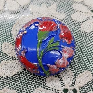 チェコ ガラスボタン アールデコ ブルー