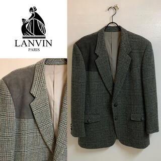 ランバン(LANVIN)のLANVIN PARIS VINTAGE ツイードスエードハンティングジャケット(テーラードジャケット)
