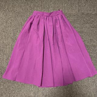 ロペピクニック(Rope' Picnic)のフレアスカート パープル ピンク カラースカート(ひざ丈スカート)