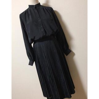 Lochie - 黒 セットアップ ブラウス プリーツスカート 昭和レトロ 織模様